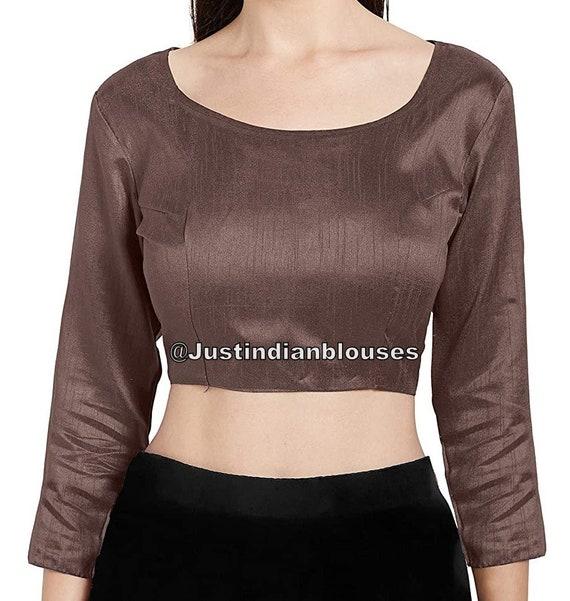 Sari Blouse Indian Saree Blouse Choli Ready made Saree Blouse Ready to Wear Blouse Maroon Dupion Silk /& Padded Blouse