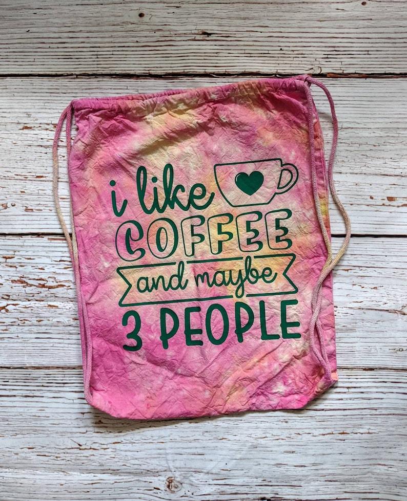 I Like Coffee Red Tie Dye Drawstring Bag