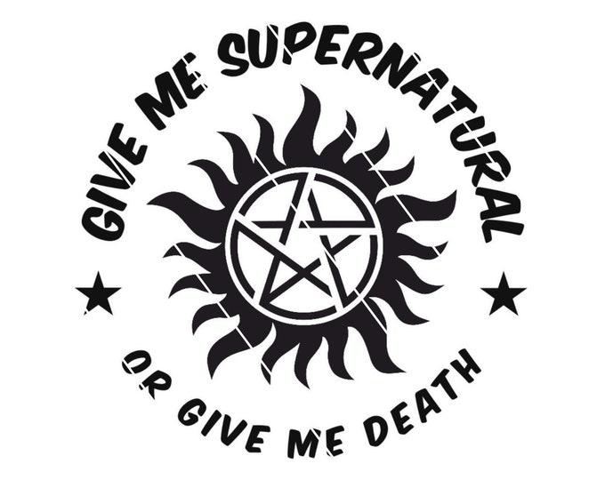 Featured listing image: Supernatural Decal, Fandom Sticker, Pentagram Decal, Anti-Possession Car Sticker, Supernatural Or Death, Supernatural Sticker, Sticker