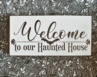 Welcome to Our Haunted House Vinyl Decal, Pre Cut Halloween Decal, Halloween DIY Home Decor, Goth Aesthetic, Welcome Sign