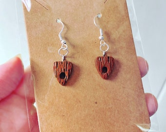Halloween Charm Earrings Faux Wood / Polymer Clay Jewelry / Horror Goth / Ouija Planchette Ear Ring / Coffin Jewelry