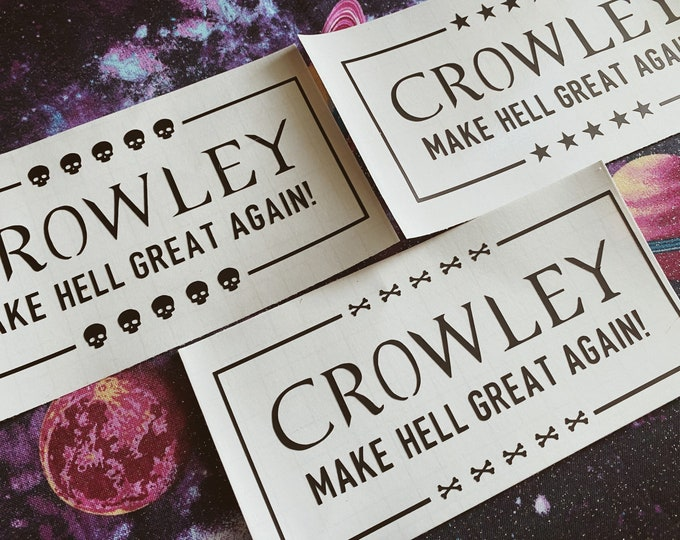 Featured listing image: Supernatural Vinyl Decal, Fandom Bumper Sticker, Crowley Laptop Cling, Horror decal, King of Hell Vehicle Accessories, Supernatural decal