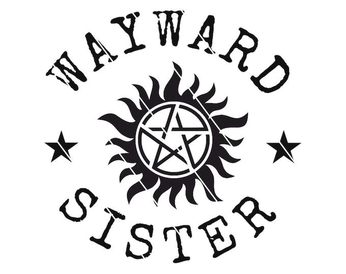 Featured listing image: Supernatural Decal, Wayward Sister Decal, Fandom Sticker, Pentagram Decal, Anti-Possession Car Sticker, Supernatural Sticker, Sticker