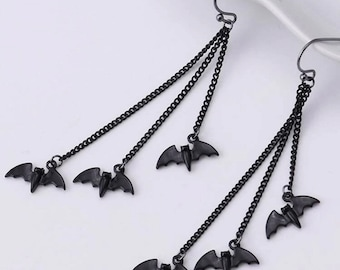 Bat Earrings Dangle Jewelry Halloween Gift Goth Bijouterie