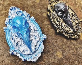 Raven skull Pin Charm / Victorian Bird Brooch