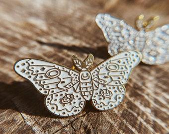 Lunar Moth Enamel Pin Charm Moon Magic Brooch Lapel Fandom Clasp Goth Witch Gift