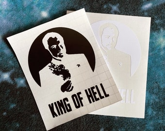 Supernatural Decal, Crowley Laptop Sticker, Horror Bumper Sticker, King of Hell Vehicle Accessories, Fandom Cling, Crowley Decal