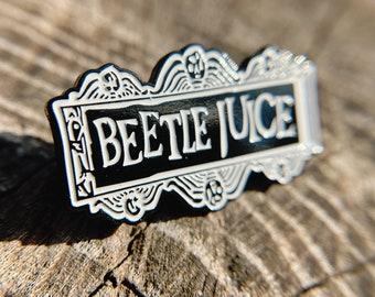 Beetlejuice Enamel Pin Charm, Tim Burton Brooch Lapel, Fandom Clasp, Halloween Gift
