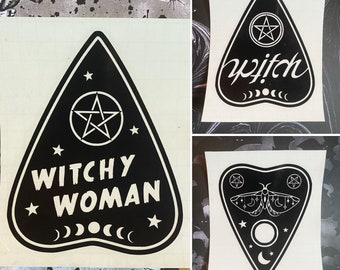 Witch Vinyl Decal, Witchy Bumper Sticker, Ouija Decal, Halloween decal, Witchy Vehicle Accessories, Luna Moth decal, Witchy Woman