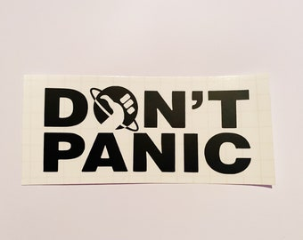 Don't Panic Decal, Fandom Sticker, The Hitchhiker's Guide to the Galaxy Decal, Car Sticker, Movie Decal