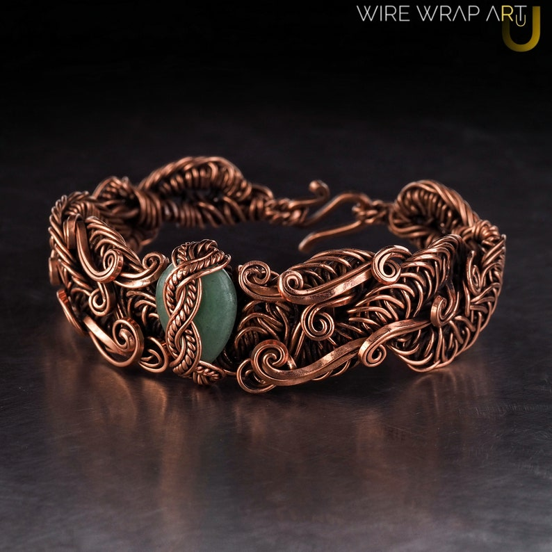 Wire wrapped copper bracelet with natural jade / Antique style image 0