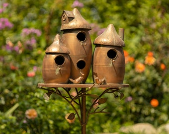 Large 3 Home Copper Finish Birdhouse with Mushroom Cap Roof