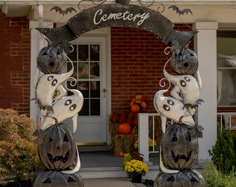 Large Halloween Cemetery Arch with LED Lights