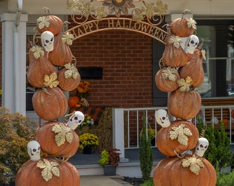 """Large """"Happy Halloween"""" Arch with Pumpkins and Skulls"""