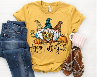 Happy Fall y/'all graphic tee screen print shirt gnomes and sunflowers