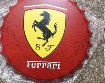 30cm Ferrari Car Retro Wall Display Sign Metal Bottle Top Memorabilia Racing