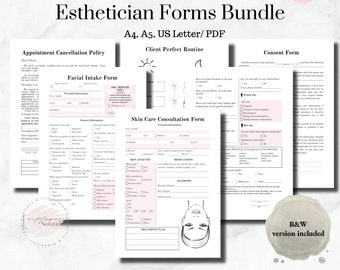 Printable Esthetician Forms, Client Intake Form, Skincare Consultation Form, Facial Consent Form, Beauty Business, Cosmetologist Form Bundle