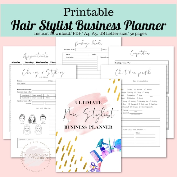Hair Stylist Business Planner Printable Hairdresser Etsy
