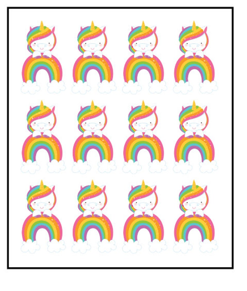 Unicorn and rainbows stand up precut wafer card edible cupcake toppers x 12