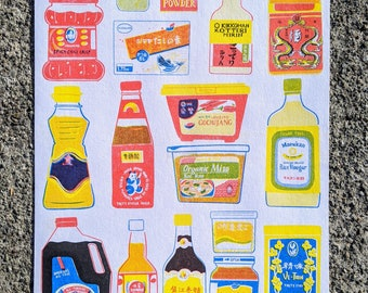 """Asian Pantry Risograph Print 8.5""""x11""""   Sauces and Condiments of Asia"""
