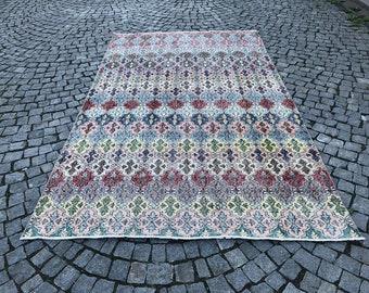 Turkish Rug Area Rug,Natural Carpet Anatolia Carpet 110x200 Cm Home Decor Living Room Carpet Handmade Rug 3.6x6.5 Ft Colorful Carpet
