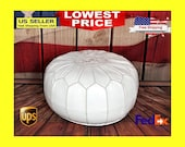 Pouf Available in more COLORS Ottoman Handmade Moroccan Leather Chair Pouffe Footstool Cover Pattern Tray Insert Nursery Round Unstuffed
