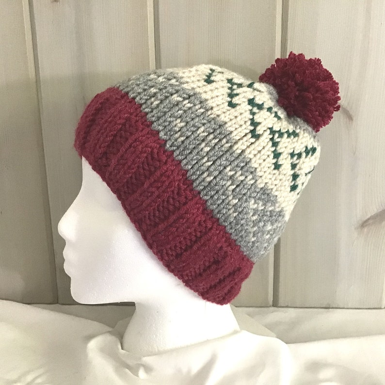 Knitted wool blend bobble hat Hand knit Fair Isle hat Gift for women Knitted pompom beanie Pompom Fair Isle wool mix hat