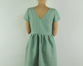 Made to order linen dress/ V-neck at the back/ Linen women dress , linen casual dress, linen summer dress, minty green dress