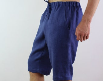 Made to order/ Linen shorts for men with side pockets/ Shorts with elastic waist/ Pants for men/ Casual shorts/ Linen men's trousers