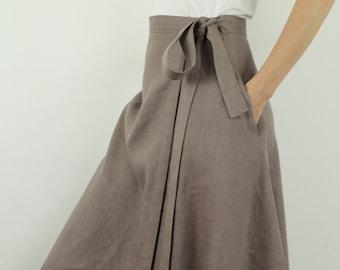 Made to order linen long skirt/ wrap skirt/ summer linen skirt/ modern style skirt/ handmade linen skirt