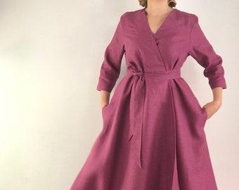 Make to measure linen dress, linen wrap dress, evening dress,  linen summer dress, linen women dress, formal dress, maxi dress