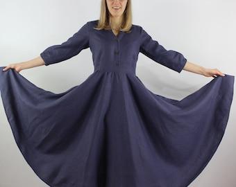 Made to order Linen women dress/ Linen maxi dress/ Linen summer dress/ Elegant dress/ Full circle skirt/ Pure linen dress/ Evening dress