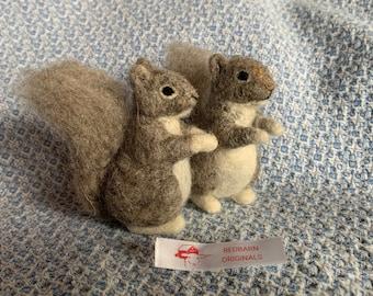 Kit Squirrel Needle Felting Kit For 2 squirrels  felting needles included Wool Kit DIY Felting Kit Fiber Art Felt Animal Kit