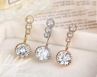 Belly Bars New Belly Bar Crystal Dangly Reverse Button Rings Top Drop Navel Lot