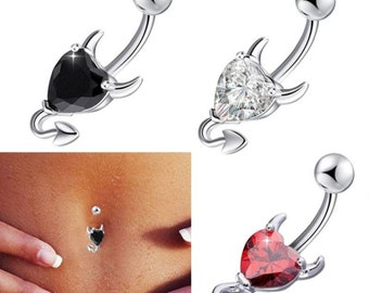 Quality Red Devil Design Belly Bar Piercing Crystal Navel Ring 316L Surgical Steel. Also Available in Different Colours