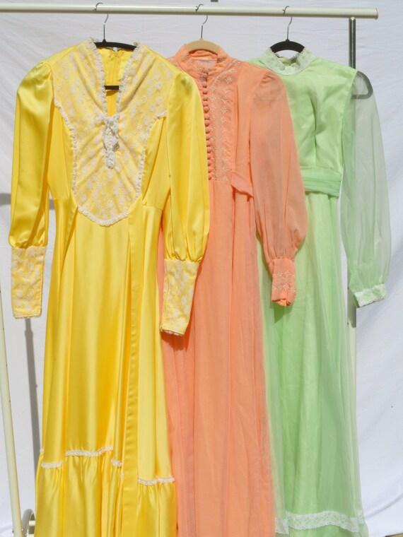 Peach 70s Prairie Dress