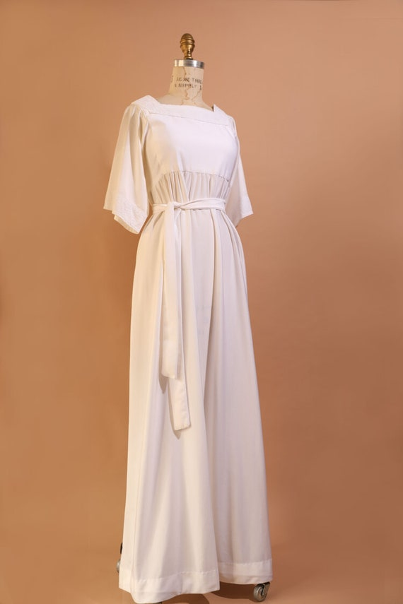 1970s White Prairie Dress