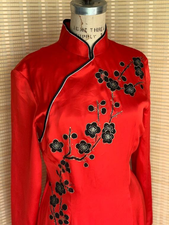 Red silk Oriental dress