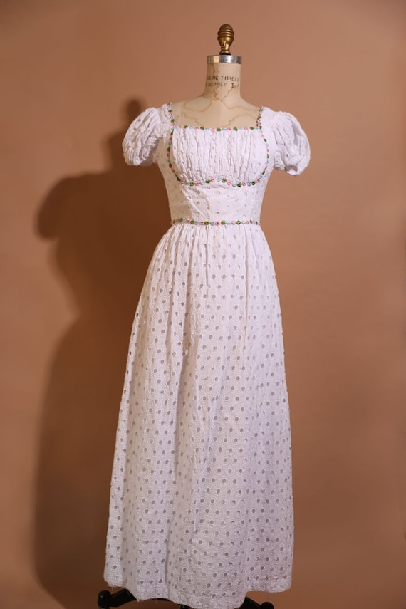 Candi Jones California 1970s Eyelet Dress