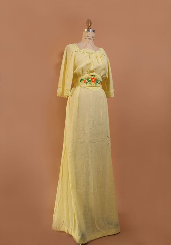 1970s Yellow Prairie Dress