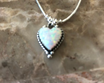 White Opal Heart Charm NecklaceWhite Opal Inlay HeartDainty Fire Opal PendantSmall Heart NecklaceMade In USAGift For Mom
