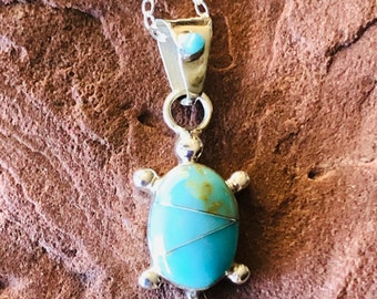 SoCute925 Turtle Necklace Pendant Turquoise Turtle Pendant White Buffalo Turquoise Pendant Made in USA Sterling Silver Jewelry