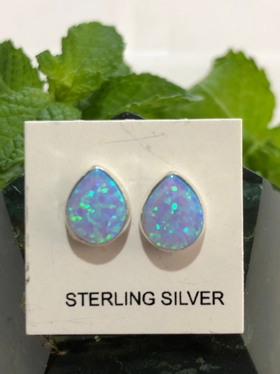 Beautiful 925 Sterling Silver Blue Fire Opal Leaf Shaped Stud Earrings