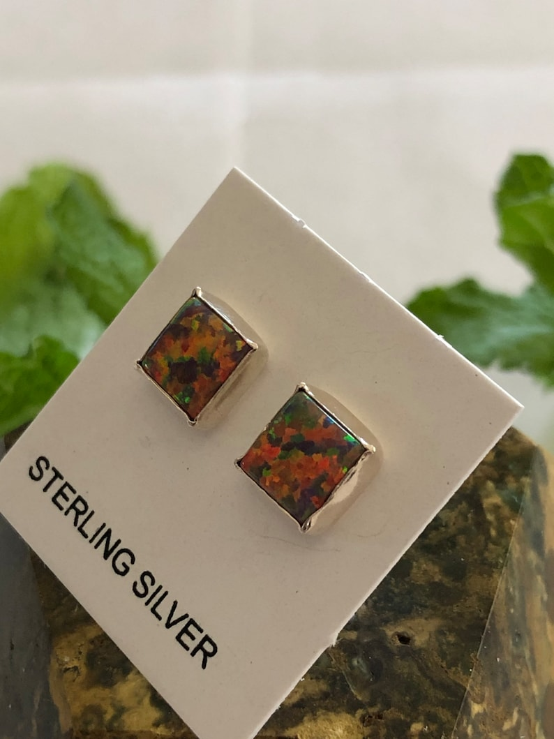 6mm Square Red OpalRed StoneFire Opal Stud EarringsSterling Silver Dainty Square post EarringsMade in USA