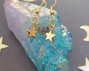 Falling Star Earrings, Stars, Star earrings, golden star, Moonlight, Gemstone, Earrings, Magic, Witchy, Earthy, Mori Kei, Mori, Cosplay
