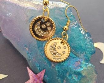 Jeweled Moon Earrings, Moon Earrings, Moon, Moonlight, Gemstone Moons, Earrings, Magic, Witchy, Earthy, Mori Kei, Mori, Cosplay