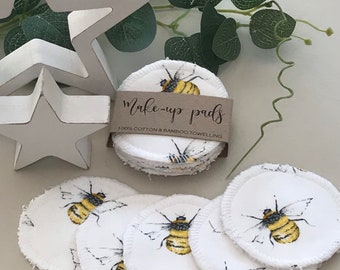 Reusable Face Wipes, Reusable Cotton Pads, Makeup Remover Pads, Bamboo Cotton Rounds, Cream Bee, 5 or 10 wipes