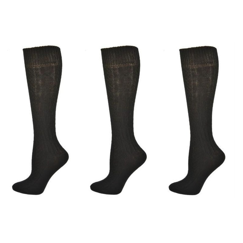 Set of 3 Acrylic Socks Classic Cable Knit Acrylic Knee High School Uniform Socks 3 Pair Pack Unisex School Uniform Socks Cable Knit Socks