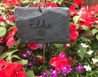 Pet Memorial Plaque and Hook, Slate Garden Sign, Pet Loss Gift, Personalised Thoughtful Garden Gift, pet memorial slate, pet loss memorial