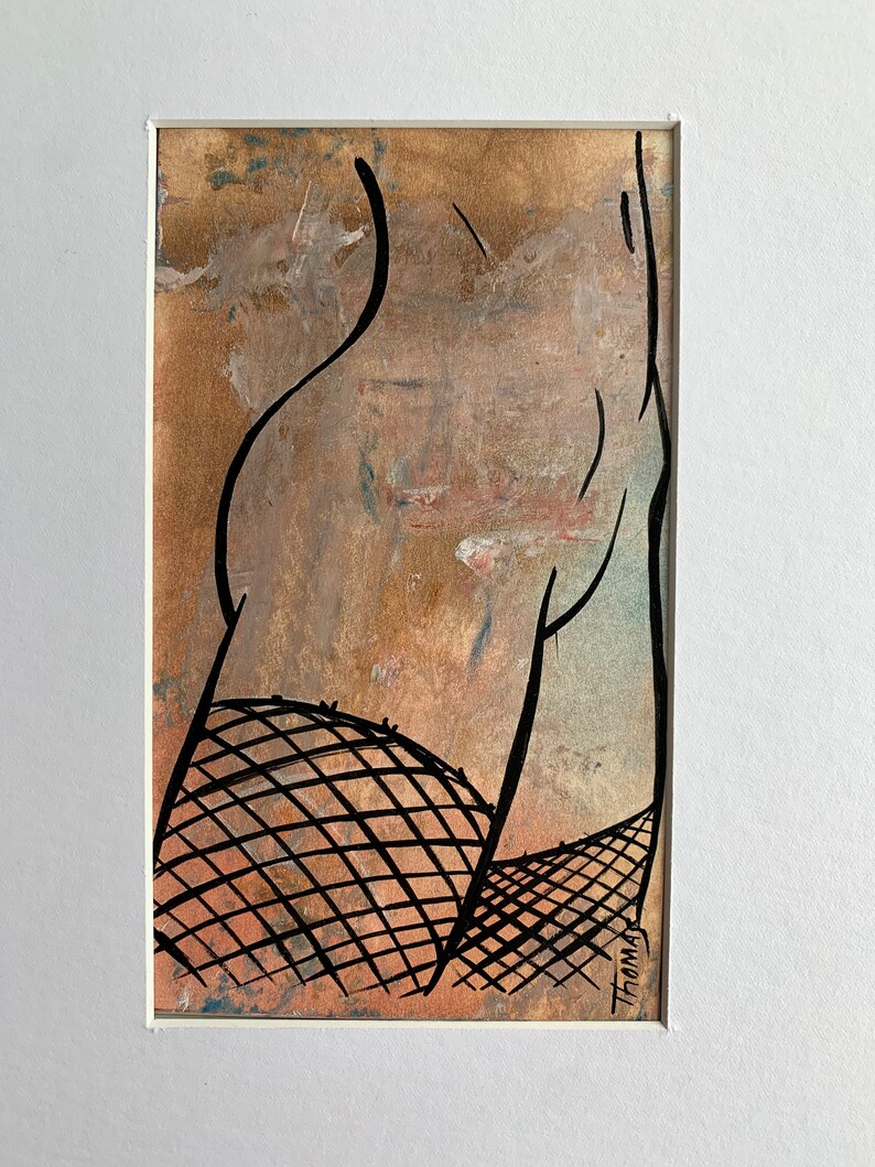 Original Erotic Nude Thigh High Oil Enamel Minimalist Line Art Painting